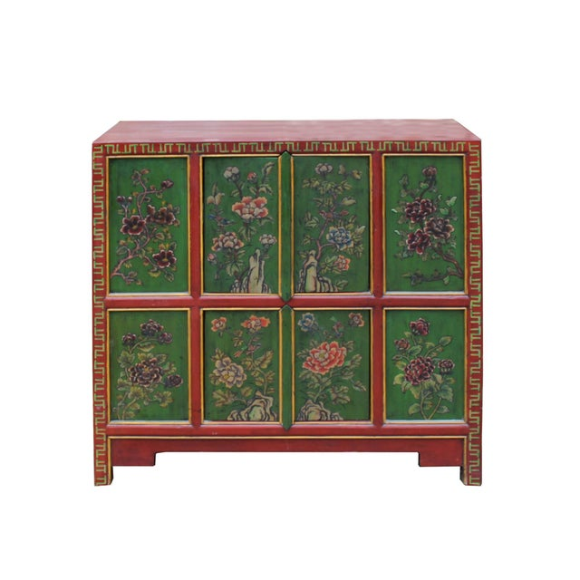 Chinese Red Green Floral Graphic Credenza Storage Cabinet For Sale - Image 9 of 9