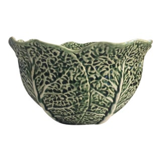 Bordallo Pinheiro Cabbage Leaf Majolica Salad Bowl For Sale