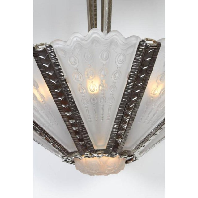Massive Verrerie Belge Art Deco Frosted Glass Chandelier, Stamped F. Carion For Sale - Image 10 of 13