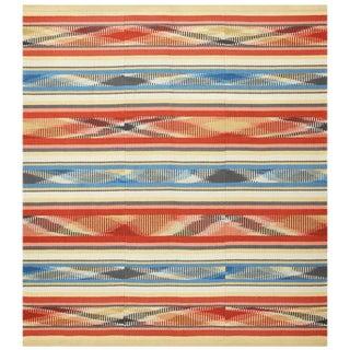Square Vintage Swedish Kilim Rug - 7′ × 7′7″ For Sale