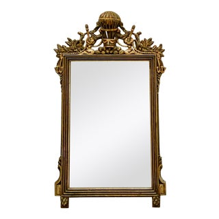 Italian Silver Giltwood French Style Mirror With Balloon Crest For Sale