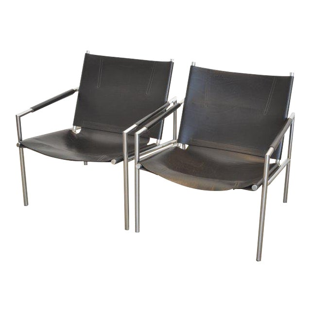 Pair of Martin Visser Lounge Chairs in Black Leather, 1965 For Sale