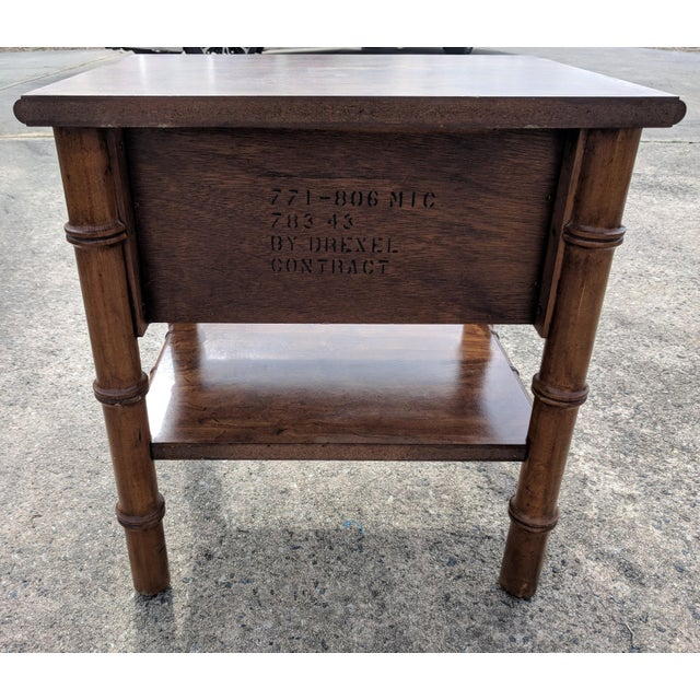 Gold Vintage Drexel Faux Bamboo Wooden Nightstand For Sale - Image 8 of 12