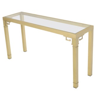 Mastercraft Solid Square Brass Profile Greek Key Glass Top Console Sofa Table For Sale
