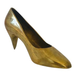 1970s Brass High Heel Shoe Paperweight For Sale