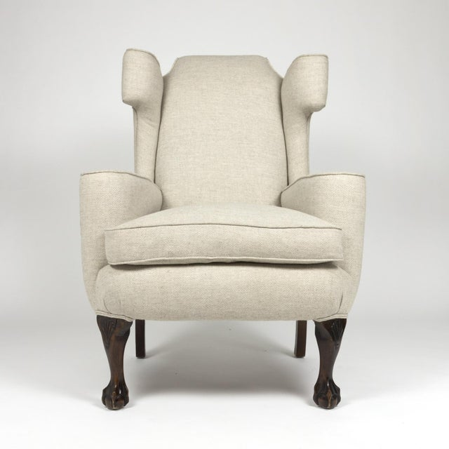 Mahogany Large Scale English Wing Chair With Mahogany Frame, Carved Mahogany Ball And Claw Feet, Circa 1870 For Sale - Image 7 of 13