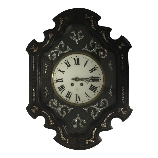 Napoleon III Ebony and Mother of Pearl Inlay Wall Clock For Sale