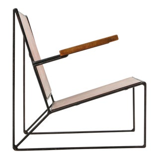 Minimalist Modernist Lounge Chair Atelier Belge in Teak and Metal - 1950's For Sale