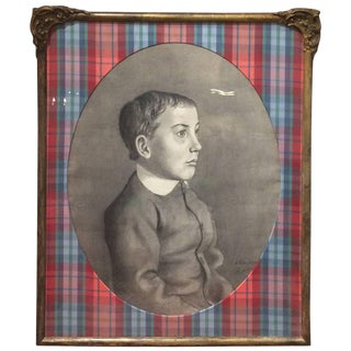 Wonderfully Framed and Matted Charcoal Portrait of a Boy For Sale