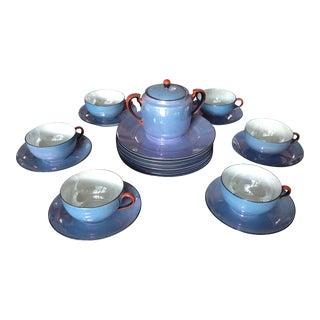 Vintage Noritake Blue Opalescent Tea & Cake Set of 20 For Sale