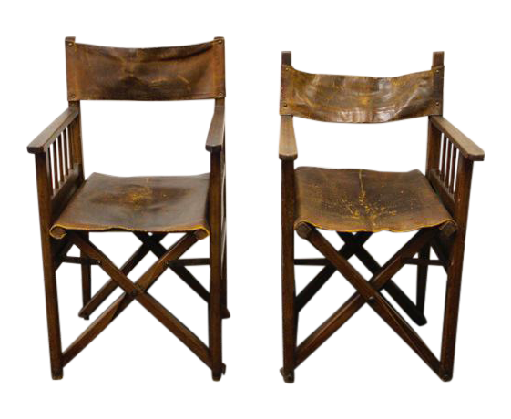 Bon French Folding Campaign Chairs   A Pair