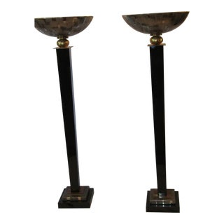 1970's Brass Floor Lamps With Ceramic Shade - a Pair For Sale
