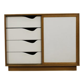 Mid-Century Modern Cabinet by Harvey Probber in Bleached Mahogany with Sliding Doors Covered in White Leather