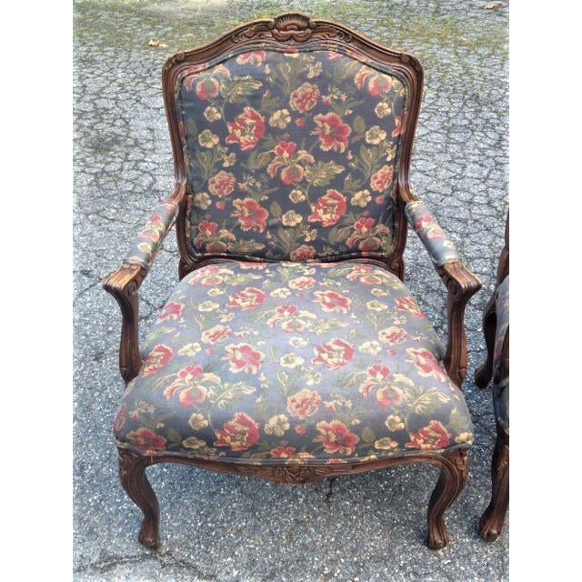 20th Century French Provincial Louis XV Style Armchairs - a Pair For Sale - Image 9 of 13
