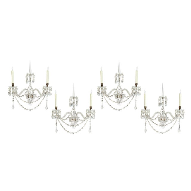 Exceptional Set of 4 Cut-Glass Wall Lights by F. & C. Osler of Birmingham For Sale - Image 11 of 11