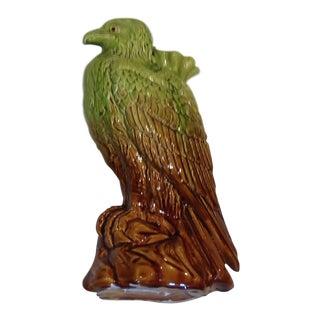 Antique 1890s English Majolica Hawk For Sale