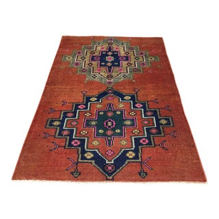 Hand Knotted Red Turkish Area Rug For Sale