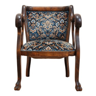 Antique Walnut Library Chair- Blue Floral Brocade For Sale