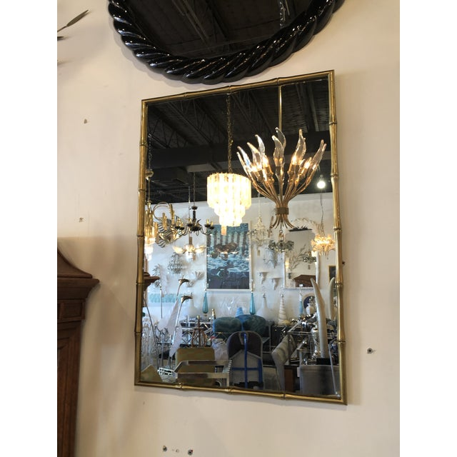 Vintage Hollywood Regency Faux Bamboo Brass Wall Mirror For Sale - Image 11 of 13