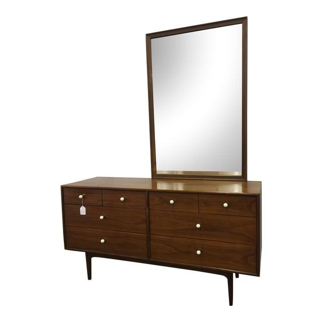 Kipp Stewart for Drexel, Walnut Dresser & Mirror - Image 1 of 10