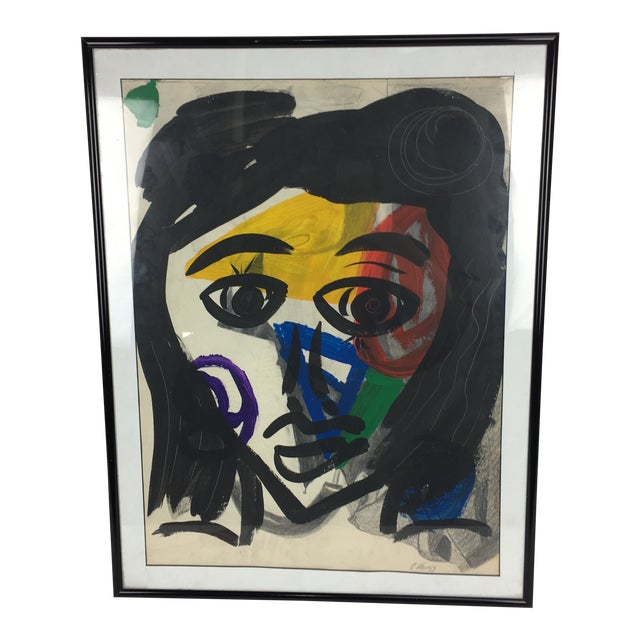 Peter Keil 1959 Colorful Face Abstract Painting For Sale