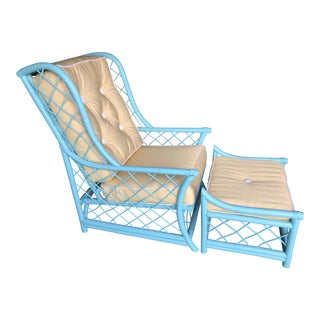 Ficks Reed Coastal Turquoise and Yellow Rattan Chair and Ottoman For Sale