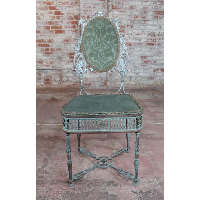 """19th century Beautiful Bronze Vanity Chair w/ Lions heads Dimension 36"""" H x16"""" W x 18"""" D A beautiful piece that will add..."""