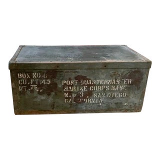 Mid Century Metal Military Trunk - Display Piece, Marine Corp.San Diego California For Sale