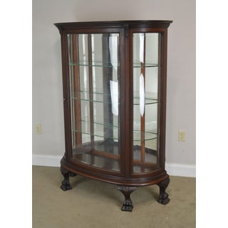 Antique Victorian Mahogany Bow Front Claw Foot China Cabinet Preview