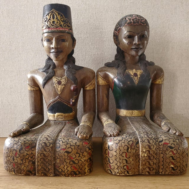 Indonesian Carved Wood Statues, a Pair For Sale - Image 9 of 9