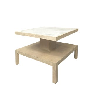 Modern History White Washed Wood Marble Top Coffee Table For Sale