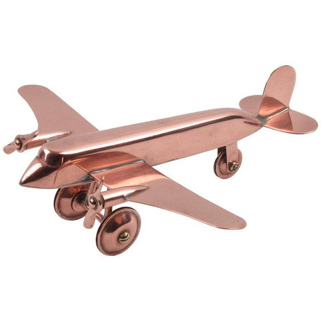 Mid-Century Modern Copper Airplane Model - Image 11 of 11