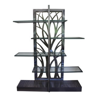 Contemporary Platinum Finish Etagere With Eden Alloy Insert For Sale