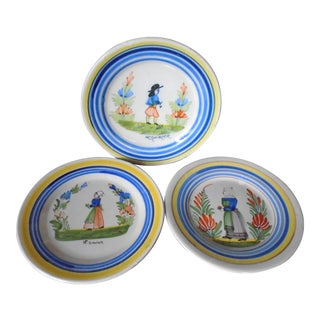 Henriot Quimper Salad Plates (Set of 3) For Sale