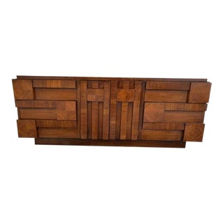 1970s Brutalist Paul Evans Style Sculptural Relief Wood Chest of Drawers For Sale