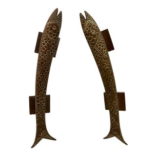 Vintage Solid Bronze Door Pulls in Fish Motif For Sale