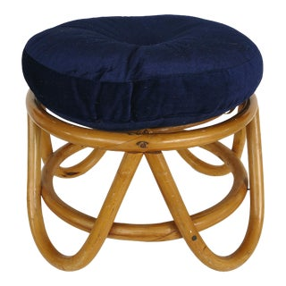 Mid-Century Modern Tropical Chic Rattan Stool For Sale