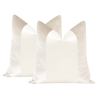 "22"" Alabaster Velvet & Silk Panel Pillows - a Pair"