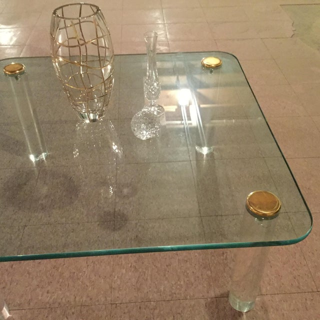 1970s Glass and Brass Table For Sale In Chicago - Image 6 of 8