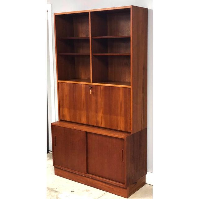 Brown 1970s Danish Modern Hundevad Teak Wall Unit Desk & Bookcase For Sale - Image 8 of 11