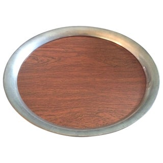 Faux-Bois Formica and Silver Round Tray