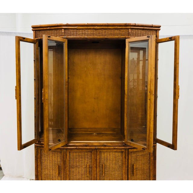 Vtg Faux Bamboo & Wicker Hutch For Sale - Image 11 of 13