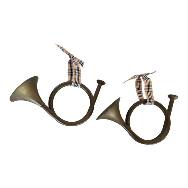 Christmas Heavy Brass French Horns Ornaments - Pair - Image 1 of 6