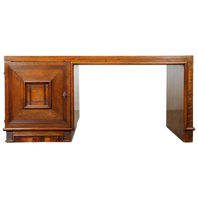 French 20th Century Oak Art Deco Parson Desk For Sale - Image 12 of 12