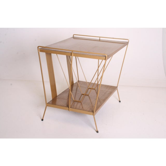 Vintage Brown Metal Record Rack Stand For Sale - Image 5 of 11