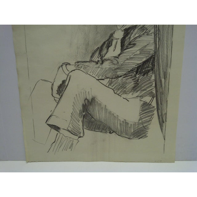 "Portraiture Original Drawing Sketch Deep in Thought"" by Tom Sturges Jr., 1959 For Sale - Image 3 of 5"