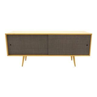 Paul McCobb Planner Group Cabinet, Solid Maple, Original Grasscloth Doors For Sale