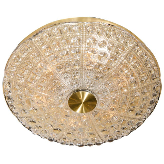 Brass Mid-Century Modernist Flush Mount Chandelier by Carl Fagerlund for Orrefors For Sale - Image 7 of 7