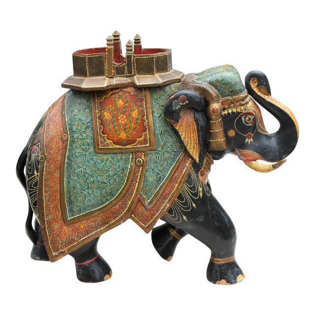 Antique Hand-Painted and Carved Wooden Elephant For Sale