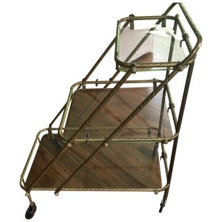 Antique French Tea Cart/Bar Cart on Wheels For Sale